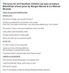 (1/2) Lyrics for HAMILTON Ham4Ham 11/14/15 with The Hamilton Children -- this was fan-freaking-tastic!