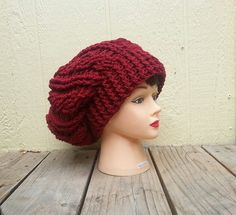 Crochet Red Slouchy Hat - By KeishasKreativity