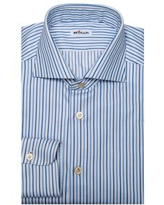 Kiton Navy and Blue Rope Stripe Dress Shirt Spread collar Pinctada Maxima mother-of-pearl buttons Rounded barrel cuff Single button cuff 100% cotton Handmade in Italy