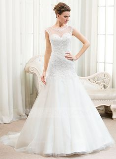 Trumpet/Mermaid Scoop Neck Court Train Tulle Lace Wedding Dress With Beading Sequins (002054354)