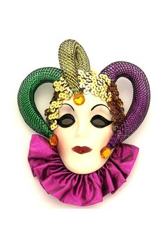 Twinkle Jester Mini Mask Mask size is 6 inches wide x 7 inches high. Ready to hang. Masks are made from ceramic and hand painted by local New Orleans artists.  Jester Mini Mask by Fancy Faces. Home & Gifts - Home Decor - Decorative Objects Alabama