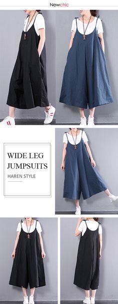 US$ 21.97 Spaghetti Strap Pocket Haren Style Wide Leg Jumpsuits