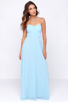 LULUS Exclusive Always Charming Strapless Light Blue Maxi Dress at Lulus.com! - maybe with sparkly belt