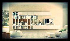 Sala de TV Nichos, gavetas e nenhum painel, brincadeira de cores e texturas
