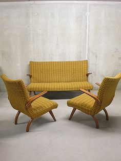 Mid century vintage design seating group, lounge bank sofa fauteuil fifties |