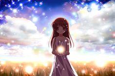 Brown Hair Clannad Dress Illusionary Girl Long Hair Summer Dress Wallpaper