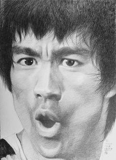 Bruce Lee Art, Bruce Lee Quotes, Bruce Lee Pictures, Elephant Sketch, Legendary Dragons, Marilyn Monroe Art, Flavio, Angel And Devil, Celebrity Portraits
