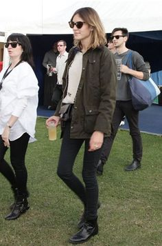 Barbour Bedale wax jacket. Again I wear for practicality. Although this is not me, this is Alexa Chung.