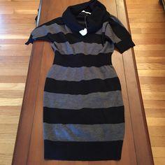 NWT Ann Taylor loft sweater dress. Small Ann Taylor loft black and gray cowl neck sweater dress. Small LOFT Dresses