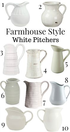 My New Favorite Jacket + More - Farmhouse style white pitchers. Great decor for a farmhouse style kitchen! Country Farmhouse Decor, Farmhouse Style Kitchen, Farmhouse Style Decorating, Farmhouse Chic, Rustic Decor, Farmhouse Table, Country Chic, Farmhouse Ideas, French Country
