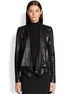Donna Karan Jersey-Insert Leather Jacket