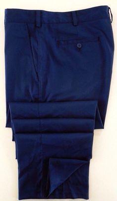 Nike Golf Pants 38 35 Blue Navy Flat Front Trouser Size Mens Man Pant Polyester* #NikeGolf #CasualPants