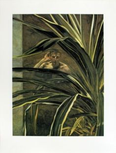Lucien Freud Portraits, NPG 2012 'Interior with Plant, Reflection Listening (self portrait detail)' by Lucian Freud