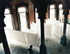 Tablecloths on the line on one of the lower floors of the building that houses La Guarida, one of Havana's most acclaimed paladars, or private restaurants.