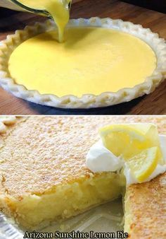 Lemon pie – For the pie: 1 large lemon 4 large eggs ½ cup butter, melted 1 teaspoon vanilla cups sugar 1 inch) piecrust, unbaked (I used a frozen deep dish) – For the topping: (optional) 1 cup whipping cream 2 Tablespoons sugar INSTRUCTIONS Take your Lemon Desserts, Lemon Recipes, No Bake Desserts, Just Desserts, Sweet Recipes, Delicious Desserts, Dessert Recipes, Yummy Food, Baking Recipes