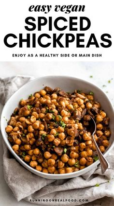 Easy Spiced Chickpeas - Easy Vegan Spiced Chickpeas with Mushroom and Onion for A Health Main Dish, Side or Salad Topper - Chickpea Recipes, Vegan Dinner Recipes, Vegan Dinners, Healthy Recipes, Protein Recipes, Vegan Protein, Dinner Healthy, Vegan Snacks, High Protein