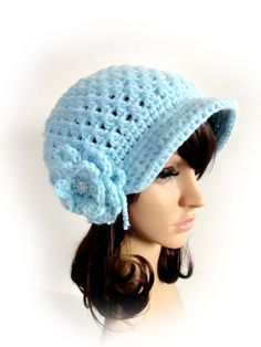 Crochet Newsboy Hat. Aqua Blue Color. Big Flower with Sparkling Button and Pearl Beads. Visor Beanie. Women's Hat. Warm Winter Accessory. by VividBear on Etsy