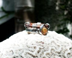 Mexican Opal sterling silver and copper ring very by Le7Lune