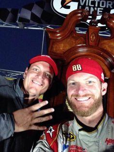 Steve and Jr. selfie with the clock.  http://www.pinterest.com/jr88rules/dale-jr-2014  #DaleJr2014