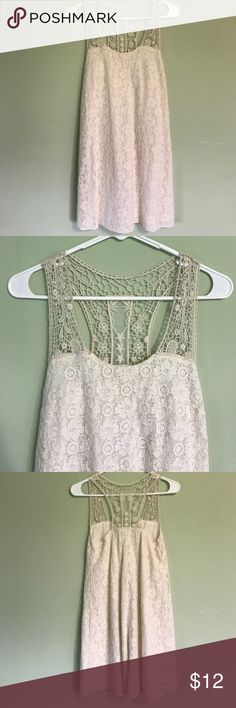 Cream Lace Dress Racerback cream lace and crochet dress. NWOT. Make an offer. Maurices Dresses