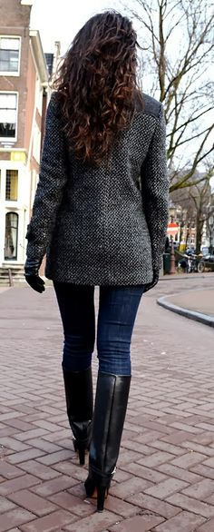 Adorable winter fashion style with coat and long heel boots