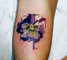 watercolor wood violet tattoo