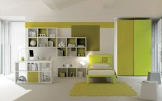 Bedroom:8 Cool Kids Bedroom Excellent Design Breathtaking Design With Green Yellow Wardrobe Corner Beside Shades Window And Green Rug Front The Small Bed Along With Book Shelves On The Wall Beside Study Table 16 Awesome Kids Bedroom Design with Smart Concept Excellent