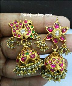 Antique Gold Kundan Jhumki Designs photo