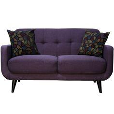 Best Master Furniture Twilight Lavender Mid Century Loveseat, Purple