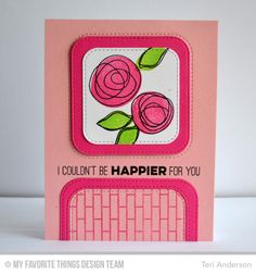 Inside & Out Stitched Rounded Square STAX Die-namics, LJD Circle Scribble Flowers Stamp Set, Small Brick Background, Totally Happy Stamp Set - Teri Anderson  #mftstamps
