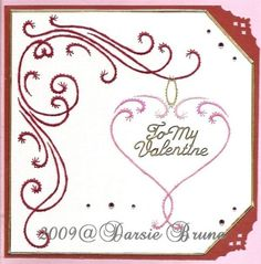 Stitched Heart Swirl Valentine Paper Embroidery Pattern by Darse, $1.50