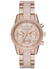Michael Kors Women's Chronograph Ritz Blush Acetate and Rose Gold-Tone Stainless Steel Bracelet Watch 37mm MK6307, First at Macy's - Michael Kors - Jewelry & Watches - Macy's