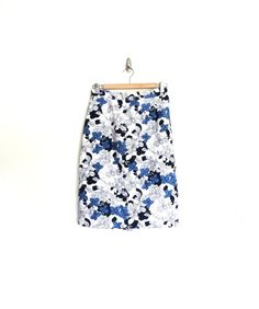 High Waisted Skirt / Blue Flower / Mod / by almondtreevintage, $24.00