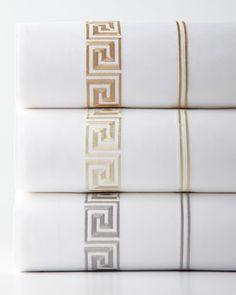 Shop King Greek Key Embroidered 200 Thread-Count Flat Sheet from Peter Reed at Horchow, where you'll find new lower shipping on hundreds of home furnishings and gifts. Luxury Bed Sheets, Luxury Bedding, Egyptian Cotton Sheets, Percale Sheets, Fine Linens, Greek Key, Home Living, Living Room, Ideas