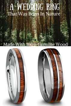 His and her woodland wedding rings These wood wedding rings are