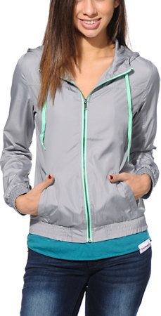 Zine Grey & Neon Mint Windbreaker Jacket at Zumiez : PDP
