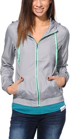 Zine Grey & Neon Mint Windbreaker Jacket at Zumiez : PDP