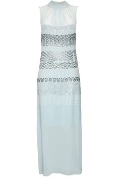 Aqua and silver sequins embroidered dress by Rohit Gandhi and Rahul Khanna. Shop now: http://www.perniaspopupshop.com/designers/rohit-gandhi-rahul-khanna #shopnow #perniaspopupshop #rohitgandhirahulkhanna #duskyblue