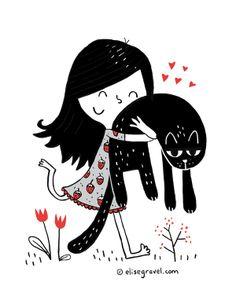 Elise Gravel • Girl • cat • nature • forest • animal • funny • cute • love • pet • illustration • drawing