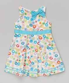 Look at this #zulilyfind! Blue Floral Dot Bow A-Line Dress - Toddler & Girls #zulilyfinds