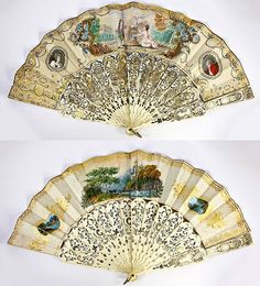Stunning Antique Hand Painted French Fan, Very Ornate Carved Ivory Inlaid with Gold, Silver Foil