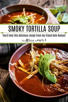 It's soup season!!! This low-maintenance, plant-based dinner comes together in minutes and everyone loves it, everyone. No one, and I mean no one, turns down a bowl of this Smoky Tomato Instant Pot Tortilla Soup. Get this recipe along with loads of other weeknight meal inspo in my friend Kate's new cookbook, Plant Powered Mexican! #thismessisours @holajalapeno #holajalapeno #mexicanrecipes #weeknightmeals