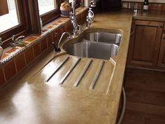 Custom Concrete Countertops Custom Countertops, Laminate Countertops, Bathroom Countertops, Concrete Countertops, Cheap Countertops, Cement Counter, Faux Granite, Concrete Overlay, Green Kitchen Cabinets