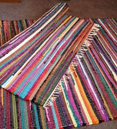 Large Fair Trade Multi Color RAG Rugs Chindi Carpets Recycled Handmade Door Mats | eBay Recycled Mats, Commerce Équitable, Rug Loom, Fabric Yarn, Beige Carpet, Time 7, Small Area Rugs, Rugs On Carpet, Carpets