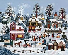 Jane Wooster Scott,puzzle art?  It is still an enjoyable picture along the lines of Grandma Moses.