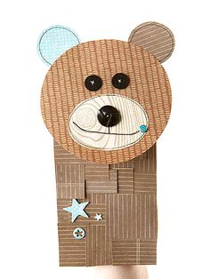 Cuddly Bear Puppet - so cute to enhance brown bag puppets