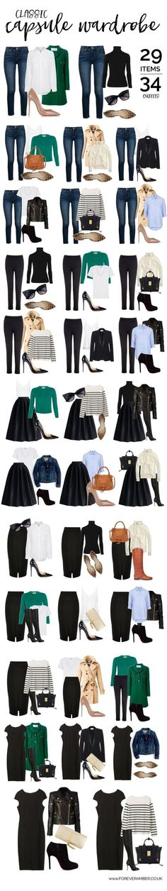 Classic capsule wardrobe: 34 outfits from a selection of wardrobe essentials #teacherfashion