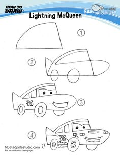 A handful of tips to draw cartoon items; my kids still love Lightening McQueen so I'm going to figure this one out. [Blue Tadpole Studio - How to draw]