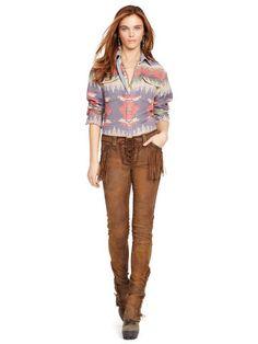 Fringed Stretch Leather Pant - Polo Ralph Lauren Pants - RalphLauren.com