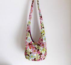 Floral Sling Bag Hobo Bag Magenta Pink Baby Blue by 2LeftHandz, $30.00